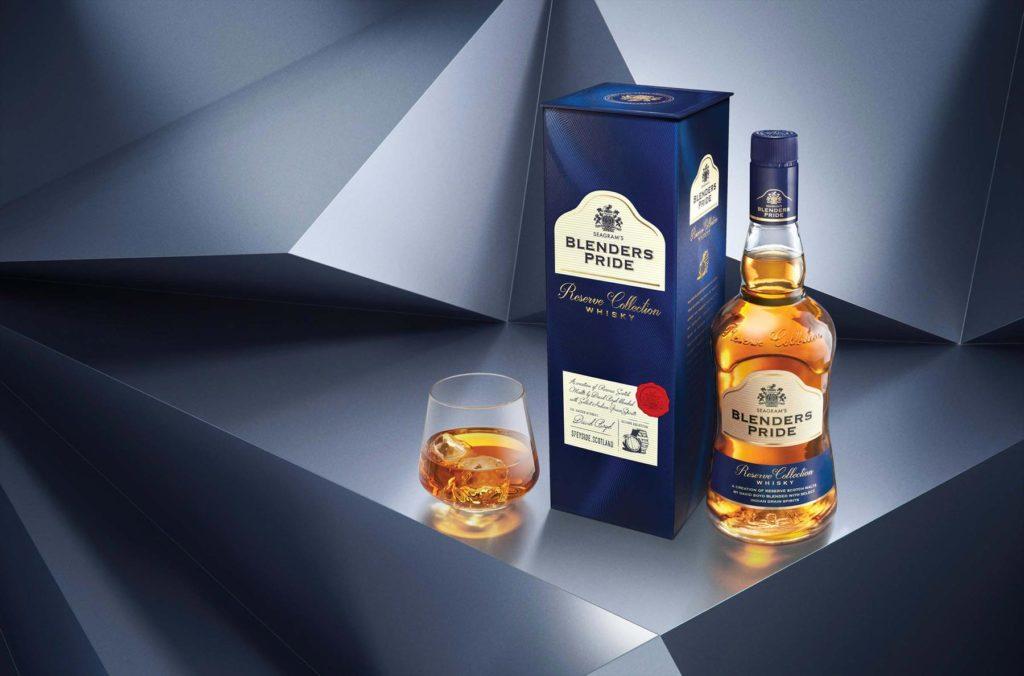 Blenders Pride whisky bottle and serve