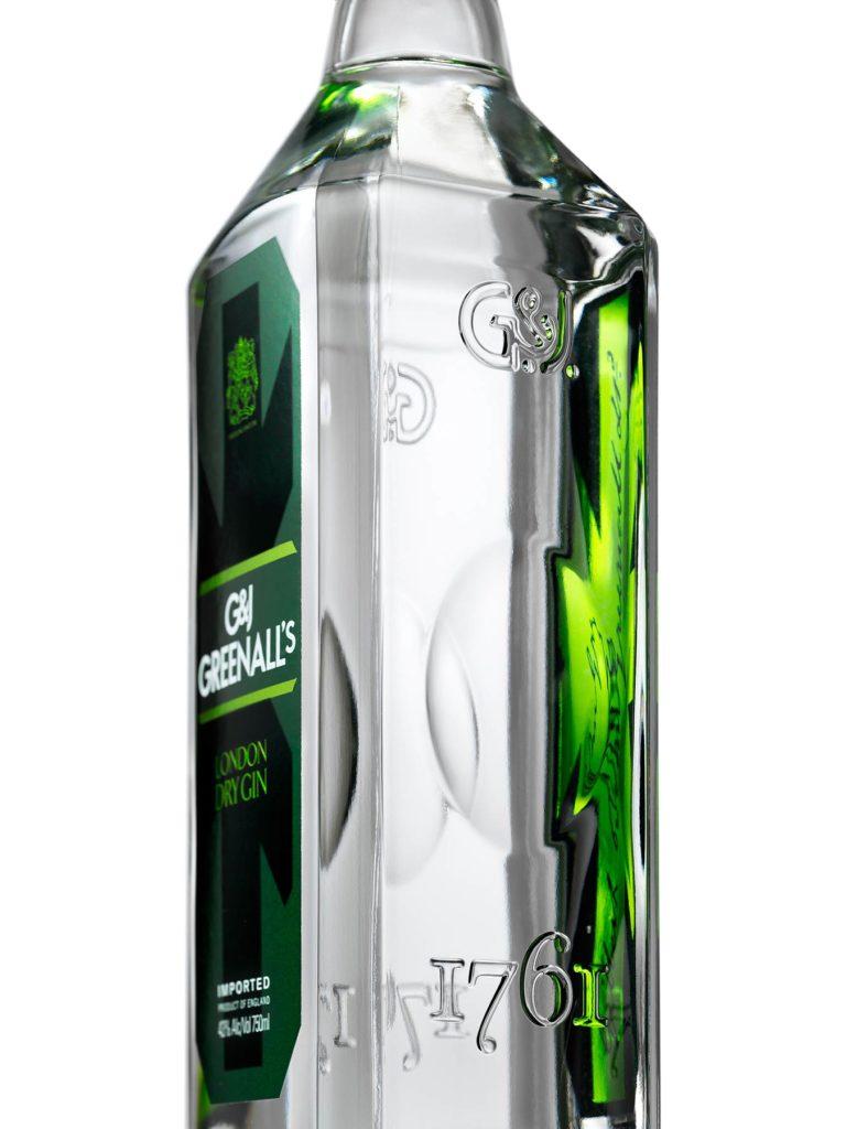 Greenall's Dry Gin bottle detail